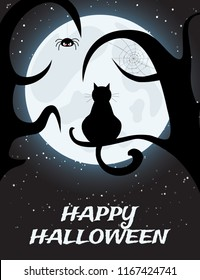 Halloween night background with full moon and black cat on tree