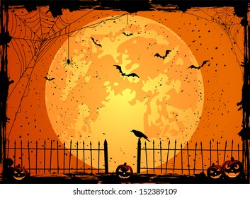 Halloween night background with full Moon, pumpkins and crow, illustration