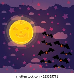 Halloween night background with full Moon, pumpkins  illustration.