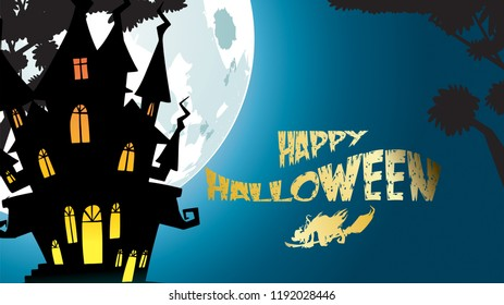 Halloween night background with haunted house, castle and full moon. Flyer or invitation template for banner, party, Invitation . Vector illustration with place for your Text & copy space