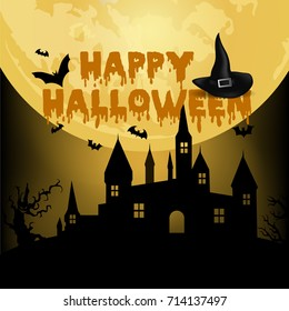 Halloween Night Background With Haunted House Tree Pumpkin And Bats Vector