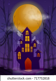 Halloween night background with haunted house and full moon.