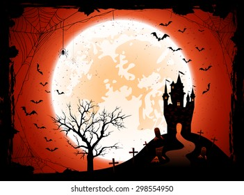 Halloween night background with the Moon, castle, cemetery and bats, illustration.