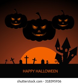 Halloween night background with pumpkin and full moon vector eps 10