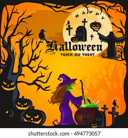 Halloween night background with pumpkin full moon and trick or treat
