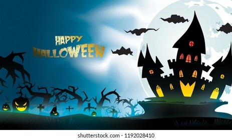Halloween night background with pumpkin, haunted house, castle and full moon. Flyer or invitation template for banner, party, Invitation . Vector illustration with place for your Text & copy space