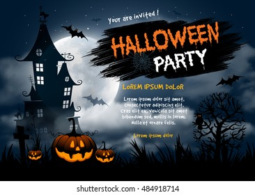 Halloween night background with pumpkin, haunted house and full moon. Flyer or invitation template for Halloween party. Vector illustration.