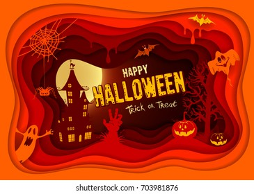 Halloween night background with pumpkin, haunted house and full moon. Paper art carving style.  Happy Halloween greeting card. Vector illustration.
