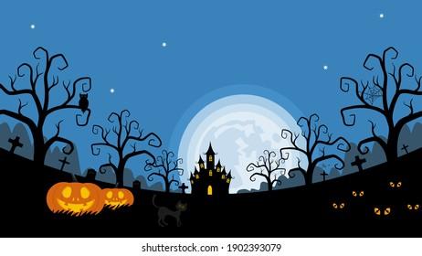 Fondo nocturno de Halloween, calabazas y castillo oscuro. ilustración vectorial.