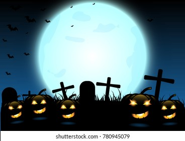 Halloween night background with pumpkins, graves and the full moon ,vector