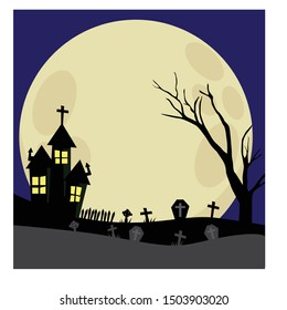 Halloween night background. Scary illustration with haunted house,  full moon