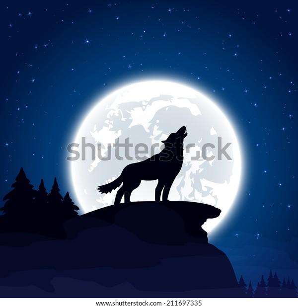 Halloween Night Background Wolf Moon Illustration Stock Vector Royalty Free 211697335