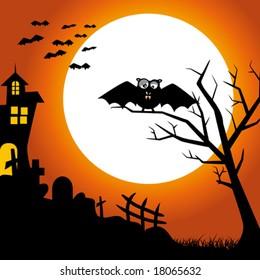 Halloween Night...  and bats on dark background. Vector illustration
