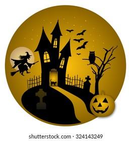 Halloween night castle with pumpkin vector illustration