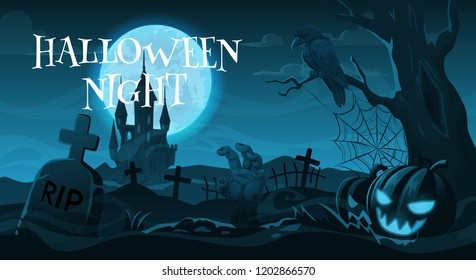 Halloween night, cemetery or graveyard. Vector gravestones and crosses, crow on tree and zombie hand, Jack lantern and scary castle. Autumn holiday, moonlight and spooky landscape with tombs