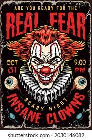 Halloween-Nachtbunter Vintage-Plakat mit Salaten grausamen bösen Clown-Kopf mit Papierkragen, menschliche Augen und Bonbons, Vektorgrafik