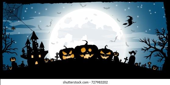 Halloween Night Concept Vector Banner