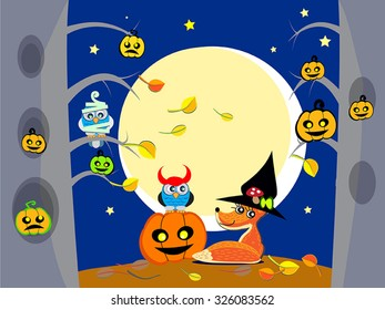 Halloween night in forest - vector  illustration of cute owls, fox as witch, zombie, devil have a party. Halloween  pumpkins on trees. Flat cartoon Halloween background, wallpaper, poster, card.