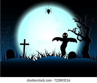 Halloween night with full moon background.