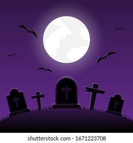Halloween night, graveyard with cross on moonlight background, vector illustration