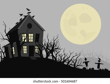 Halloween night. The house, trees, scarecrows, pumpkins and the moon. Vector illustration