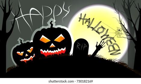 Halloween night illustration with evil pumpkins and big october moon