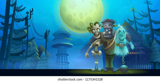 Halloween night landscape with friendly sceleton, Frankenstein and ghost in the moonlight. Vector illustration.