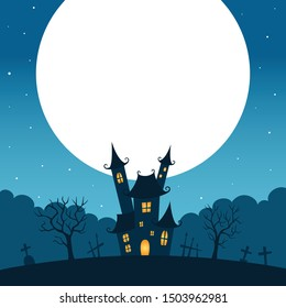 Halloween night landscape with full moon and castle.Halloween background.