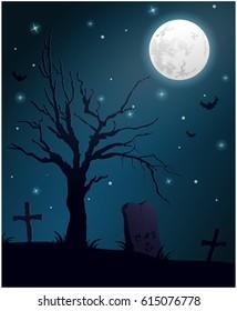Halloween night on graveyard vector illustration.