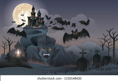 Halloween Night party background, Abstract Dracula's Castle Rock Mountain with bats monster, graveyard, full moon, zombie, tree, and lantern. Paper art vector and illustration
