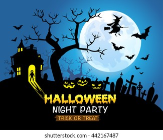 Halloween night party blue background vector illustration.