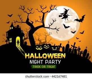 Halloween night party orange background vector illustration.