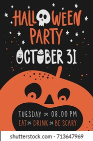 Halloween night party with pumpkin.