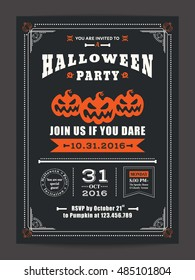 halloween night party with scary pumpkins design background for invitation card poster flyer