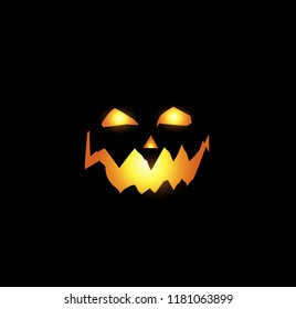 Halloween night vector illustration of scary and evil pumpkin jack o lantern glowing face with terrible look and a smirk of a villain, in the dark isolated on black background.