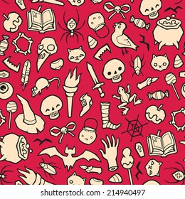 Halloween Object Seamless Vector Background