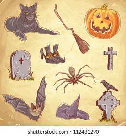 Halloween objects handdrawn vintage collection