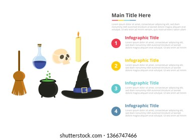 halloween objects infographics template with 4 points of free space text description - vector illustration