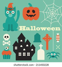 halloween objects set. vector illustration