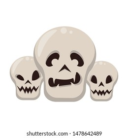 halloween october scary celebrationm skulls isolated cartoon vector illustration graphic design
