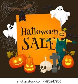 Halloween offer design template.Sale background. Retro cartoon style vector illustration