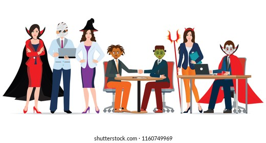 Halloween office party with people in different monster costume have fun isolated on white, vector illustration.