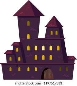 Halloween. Old big castle. Vector.