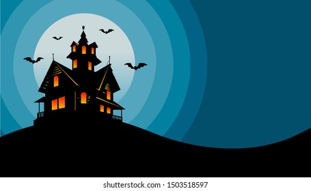 Halloween Old Haunted House With Full Moon And Bats Flat Design. Halloween Haunted House Background Illustration. Design For Halloween Party. Vector Illustration EPS10