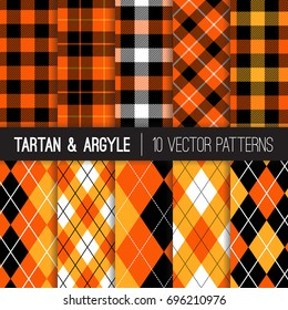 Halloween Orange, Black and White Argyle, Tartan and Gingham Plaid Vector Patterns. Traditional Golf Style Sport Fashion Prints. Vector Pattern Tile Swatches Included.