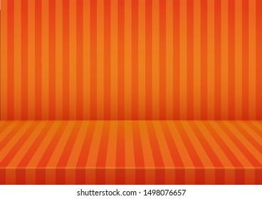 Halloween orange striped room background.