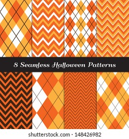 Halloween Orange, White and Brown Argyle and Chevron Patterns. Perfect as Halloween or Thanksgiving Background. Pattern Swatches made with Global Colors.
