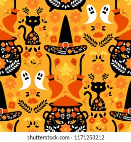 Halloween with ornamental elements - witch hat, cauldron, black cat, ghost, florals. Seamless pattern vector