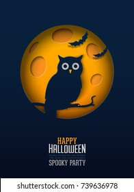 Halloween Owl, Papercut Design Multilayered papers create spooky Halloween scene under the full moon.