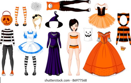 Halloween Paper Doll with different costumes